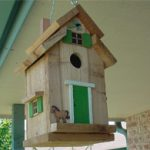 Bird House – Cedar with Green Trim